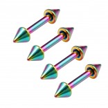 4pc 16g 5/16 8mm Rainbow Surgical Steel Eyebrow Lip Bars Ear Tragus Rings Straight Barbell Piercing