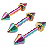 3pc 16g Gauge Surgical Steel Eyebrow Lip Bars Tragus Spike Straight Barbell Bar Rainbow 6mm 8mm 10mm