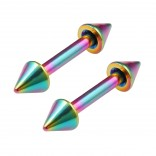 2pc 16g Rainbow Barbell Cartilage Earrings Anti-Tragus Forward Helix Eyebrow Piercing Spikes 8mm