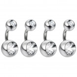 4pc 14g Belly Button Rings 1/4 6mm Surgical Steel Navel Rings CZ Bars Crystal Jeweled Lot