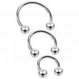 3pc 18g Horseshoe Earring Circular Cartilage Barbell Targus Helix Hoop Piercing Jewelry 6mm 8mm 10mm
