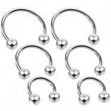 6pc 18g Horseshoe Earring Circular Cartilage Barbell Targus Helix Hoop Piercing Jewelry 6mm 8mm 10mm