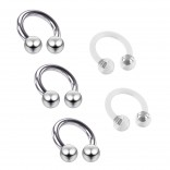 3pc Stainless Steel Circular Barbell Horseshoe Piercing Tragus Earring 6mm 1/4 - 2pc Clear Retainer