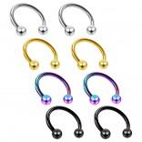 8pc 16g Circular Barbell Horseshoe Earring Tragus Helix Daith Women Piercing Jewelry Set Lot 10mm