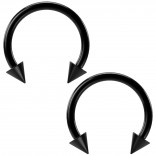 2pc 16g Black Circular Barbell Horseshoe Earrings 10mm 3/8 Daith Helix Hoop Nose Tragus Lip Piercing