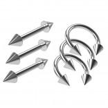 3pc 16g Circular Horseshoe Daith Tragus Helix Rings Steel - 3pcs Barbell Earrings Straight Bars 8mm