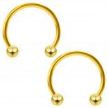 2pc 16g Gold Circular Barbell Horseshoe Earrings 12mm Women Men Septum Eyebrow Ring Piercing Jewelry