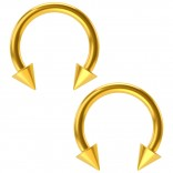 2pcs 16g 8mm Circular Barbell Horseshoe Earrings Daith Tragus Helix Hoop Nose Piercing Gold Spikes