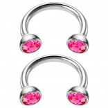 2pc 16g Stainless Steel Circular Barbell Horseshoe Crystal Tragus Septum Rings Rose 8mm