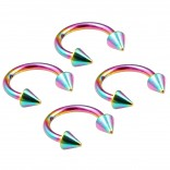4pc 16g Rainbow Horseshoe Circular Barbell Earring Tragus Piercing Stainless Steel Cone Set Lot 8mm