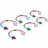 6pc 16g Rainbow Horseshoe Circular Barbell Earring Tragus Piercing Stainless Steel Set 8mm 10mm 12mm