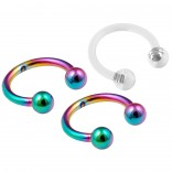 3pc Rainbow Circular Barbell Horseshoe Earrings Daith Tragus Helix Piercing 8mm & Clear Retainer