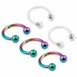 3pc 16g Rainbow Stainless Steel Circular Barbell Horseshoe Earrings 5/16 8mm - 2pc Clear Retainers