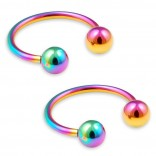 2pc 16g Rainbow Circular Barbell Horseshoe Earrings Stainless Steel Tragus Helix Cartilage Piercing