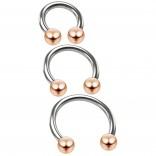 3pc 16g Stainless Steel Circular Barbell Horseshoe Earrings Tragus Helix Piercing Rose Gold Balls