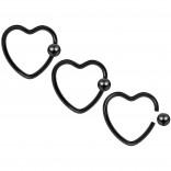 3pc 16g Heart Hoop Earring CBR Captive Bead Rings Cartilage Daith Rook Helix Auricle Ball Black Set