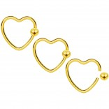 3pc 16g Heart Hoop Earring CBR Captive Bead Rings Cartilage Daith Rook Helix Auricle Ball Gold BCR