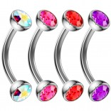 4pc 16g Curved Barbell Cartilage CZ Tragus Eyebrow Surgical Steel Red Amethyst Earring Rook Stud 8mm