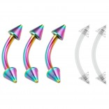 3pc Curved Barbell 16g Rainbow Vertical Labret Lip Industrial Earring Spike 8mm - 2pc Clear Retainer