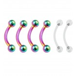 4pc Curved Barbell 16g Rainbow Vertical Labret Lip Industrial Earrings 8mm 5/16 - 2pc Clear Retainer