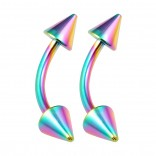 2pc Curved Barbell 16g Rainbow Vertical Labret Lip Industrial Earrings Daith Tragus Women Spike 10mm