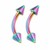2pc Curved Barbell 16g Rainbow Vertical Labret Lip Industrial Earrings Daith Tragus Women Spike 8mm
