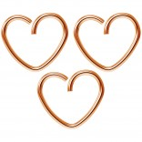 3pc 18g 3/8 Seamless Rose Gold Heart Hoop Earring Cartilage Tragus Helix Conch Auricle Adjustable