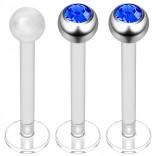 2pc 16g Bioplast Labret Stud Earrings 3mm Sapphire CZ Tragus Piercing Jewelry 10mm + Clear Retainer