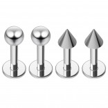 4pc 16g Labret Studs Surgical Stainless Steel Spike Lip Rings Set 14 Guage Piercing Jewelry 6mm 1/4