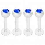 4pcs 16g Bioplast Labret Monroe Lip Ring 3mm Blue Gem Bioflex Earring Stud Piercing Jewelry 8mm 5/16