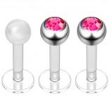 2pc 16g Bioplast Labret Stud Earrings 3mm Rose Gem Tragus Piercing Jewelry 6mm + Clear Retainer