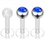 2pc 16g Bioplast Labret Stud Earrings 3mm Sapphire CZ Tragus Piercing Jewelry 6mm + Clear Retainer