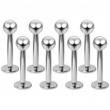 8pcs Bulk 16g Stainless Steel Labret Studs 3mm Ball Lip Rings Piercing Jewelry Monroe Tragus 8mm