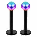 2pc 16g Surgical Steel Labret 3mm Rainbow Ball Lip Rings Tragus Studs Earring Piercing Jewelry 8mm