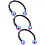 3pc 16g Horseshoe Ring Circular Barbell Earrings Lip Nose Septum Cartilage Hoop Tragus Forward Helix Piercing Rings Black Anodized Steel 3mm Rainbow Balls 12mm 1/2