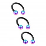 3pc 16g Horseshoe Ring Circular Barbell Earrings Lip Nose Septum Cartilage Hoop Tragus Forward Helix Piercing Rings Black Anodized Steel 3mm Rainbow Balls 6mm 1/4