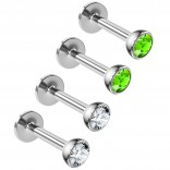 4pc 16g Surgical Steel Labret Monroe Lip Ring 3mm Green CZ Tragus Earring Stud Piercing Jewelry 8mm