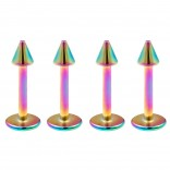 4pcs 16g Stainless Steel Labret Rainbow Lip Rings Earrings 3mm Spike Tragus Forward Helix Studs 8mm