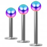 3pc 16g Surgical Steel Labret 3mm Rainbow Ball Lip Ring Tagus Forward Studs Earrings - 6mm 8mm 10mm