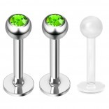 2pc 16g Surgical Steel Labret Monroe Lip Ring Tragus Helix Earring Stud Piercing Jewelry 8mm Jet
