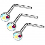 3pc 20g Surgical Stainless Steel L-Shaped Nose Ring AB Flat Cute Hoop 20 Gauge Stud CZ crystal Gem