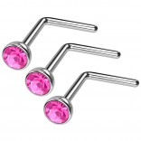 3pc 20g Surgical Stainless Steel L-Shaped Nose Ring Rose Flat Cute Hoop 20 Gauge Stud CZ crystal Gem
