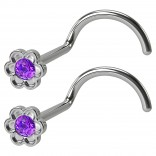 2pc 20g Flower Nose Screw CZ Amethyst Crystal Gem Stainless Steel Corkscrew Nostril Piercing Jewelry