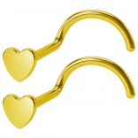 2pc 20g Gold Heart Nose Screw Studs Surgical Stainless Steel Hoop Corkscrew Piercing Jewelry Rings