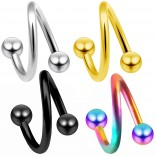 4pc Lot 16g Twisted Barbell Daith Earrings Cartilage Tragus Helix Spiral Twister Piercing Jewelry 8mm