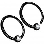 2pc 16g Hinged Captive Bead Ring Clicker Helix Earring Nose Hoop Cartilage Tragus Lip Septum Rook Forward Eyebrow 8mm Cubic Zirconia Black