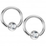 2pc 16g Captive Bead Ring Earrings CZ Cubic Zirconia Crystal 8mm 5/16 Gem Piercing Jewelry