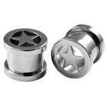 2pc 00g Ear Gauges Star Screw Fit Flesh Tunnels Surgical Steel Expander Stretcher Plugs Double Flared For Gauging Out