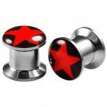 2pcs Internally Threaded Tunnels Screw Red Star Logo Double Flared Plug Ear Gauge Expander