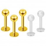 3pc 16g Gold Stainless Steel Lip Rings 3mm Ball Labret Nose Studs Monroe Tragus 6mm + 2pc Retainer